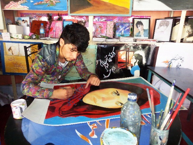 Badakhshan Cultural Container-Farhad Kayhan, a local painter who works with the container.