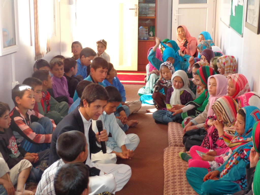 Storytelling with the children in Bamyan cultural container