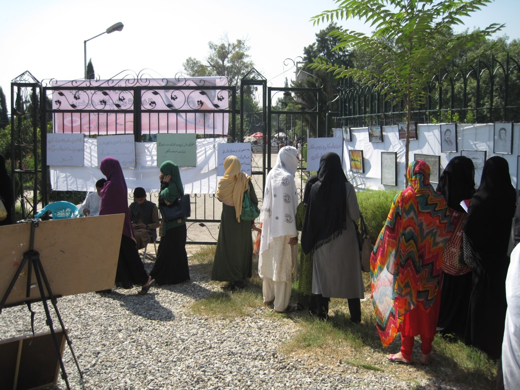 Women visiting the arrt xhibition in Nanagarhar cutlural container